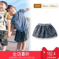 千趣会 BABY婴儿女字母印花绢网拼接半身裙 B55140