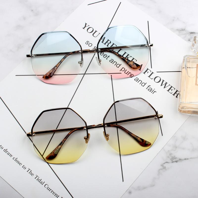 2018新款太阳镜个性切边浅色正六边形大框墨镜欧美明星同款眼镜潮
