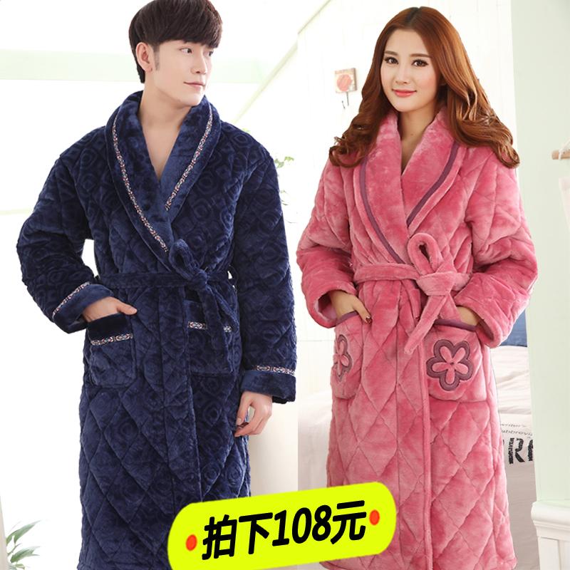 睡袍男 冬季 加厚加长款珊瑚绒浴袍女冬加绒保暖夹棉男士睡衣大码