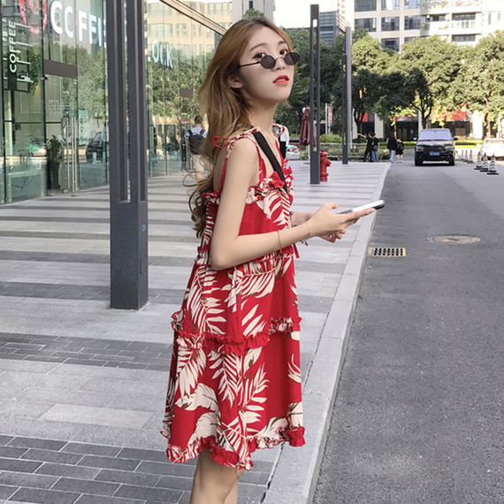 Korean version of the long temperament red printed floral dress women's summer 2018 new adjustable dress