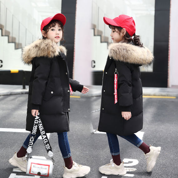 2018 new children's down jacket long section thickening boys and girls baby children's clothing jacket winter big children winter