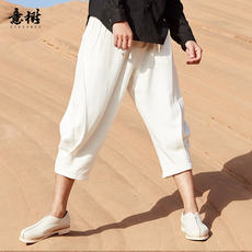 Yishu summer new casual pants male Chinese linen shorts loose straight cropped pants harem pants thin section pants