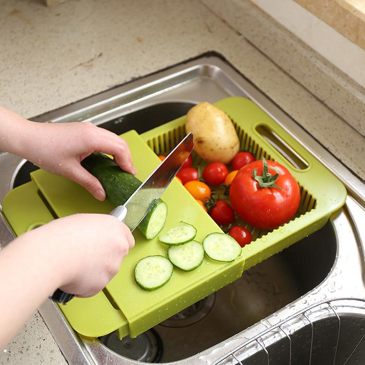 家用塑料水槽沥水砧板伸缩料理切菜板拆叠滤水菜篮架防霉沥水菜板