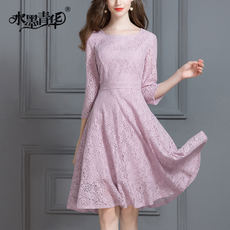 Ink Qinghua 2017 Spring New Product OL Commuter Fashion Neck Slim Thin Seven Sleeve Lace Dress Spring