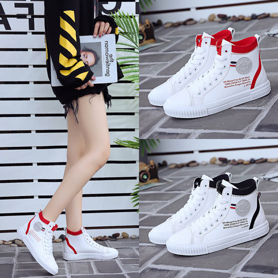 High-top shoes women's summer hip-hop street dance tide 2018 new Korean version of the wild net red women's shoes students canvas white shoes