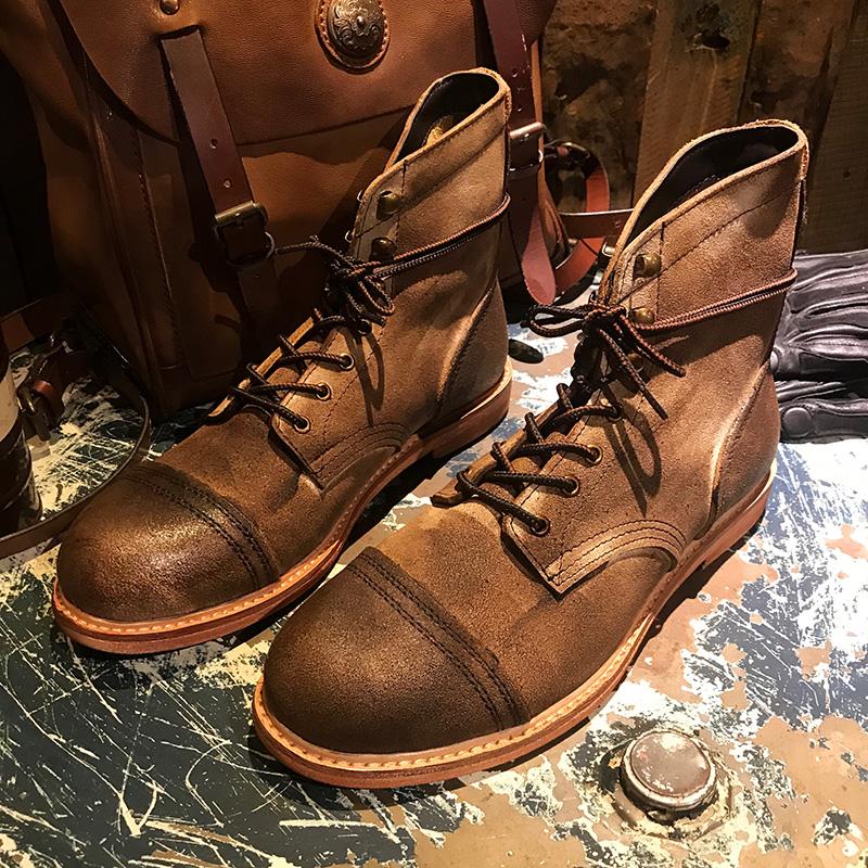 做旧英伦风复古系带工装马丁皮靴男女休闲8111高帮真皮鞋沙漠短靴