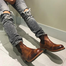 Europe and the United States and the United States and Amercia retro leather old Chelsea Martin short boots high help tooling shoes for men and women summer tide