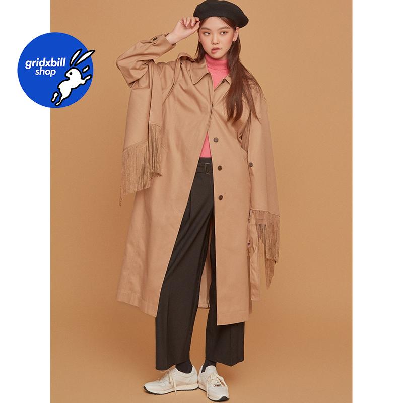 折扣 SJYP BLACK 18秋冬 流蘇披肩隱藏扣子腰帶系帶長款風衣外套