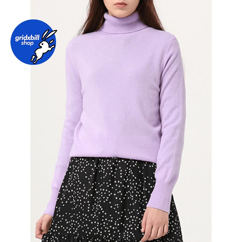 折扣 SJYP BLACK 18秋冬 淺紫色高領彈力羊絨打底衫毛衣針織衫