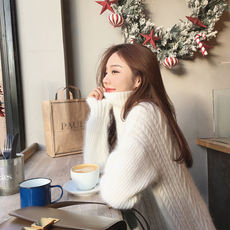 Beautiful summer and summer high collar sweater female thick warm winter new student loose wild Korean version of the pullover top