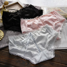 Figaro Wedding ~ Cotton Classic Satin Openwork Cross Ribbon Luxury Large Size Triangle Women's Underwear 173