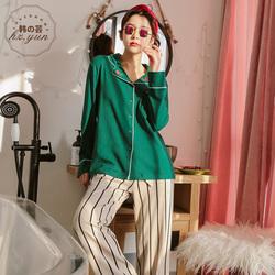女士睡衣纯棉长袖春秋2018新款刺绣时尚条纹开衫套装可外穿家居服