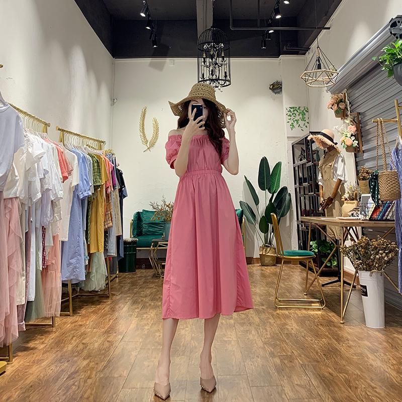 2019韩版夏西瓜红收腰连衣裙粉色露肩a字连衣裙法式领气质连衣裙