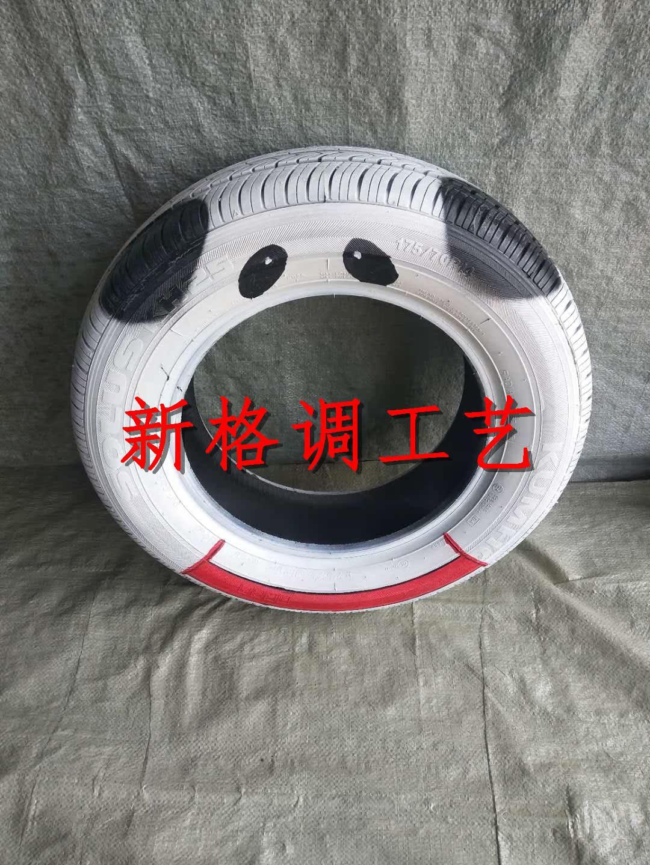 宝宝喜欢彩绘废旧轮胎 手绘创意几何轮胎 彩色旧轮胎 艺术轮胎图片