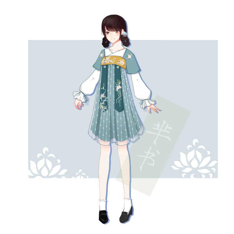 [弄清影] 齐胸汉元素假两件绣花绑带连衣裙