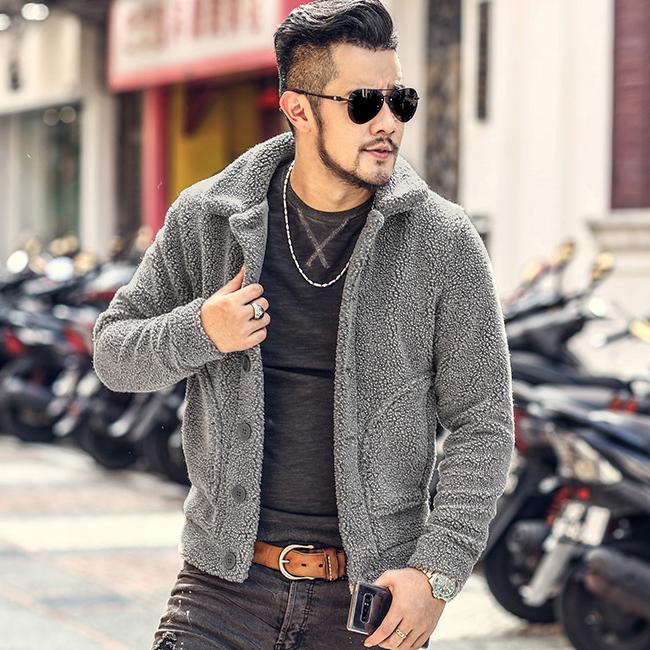 包邮秋冬男装毛绒立领外套 型男摇粒绒男款毛领抓绒立领夹克F7135