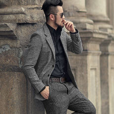 Autumn and winter earth color texture plaid men's plaid casual suit men's woolen suit suit men's jacket F196-2