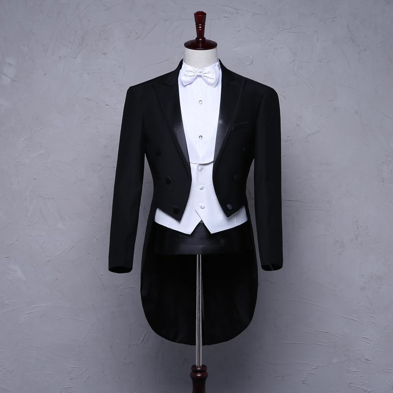 新款高档男士燕尾服舞台演出服指挥服合唱服套装结婚宴会西装礼服