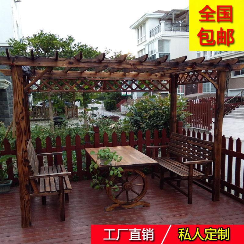 防腐木屋凉亭户外庭院家具葡萄架阳台花园休闲桌椅碳化木爬藤花架