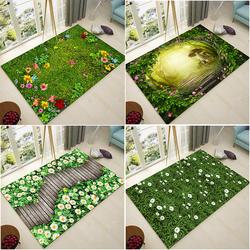 北欧田园家用地毯客厅沙发茶几阳台地毯卧室满铺绿色长方形飘窗毯