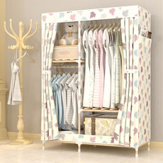 Wardrobe simple cloth wardrobe rental solid wood single double bedroom simple modern economical assembled hanging wardrobe cabinet