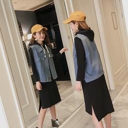 洋气套装胖MM秋装2017新款牛仔马甲两件套加大码女装中长款连衣裙