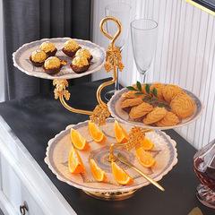 创意西式陶瓷三层水果盘欧式三层蛋糕架干果盘下午茶点心盘