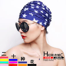 Korean swimming cap female long hair adult increase no head head hot spring ear protection swimming cap female large print swimming cap cloth