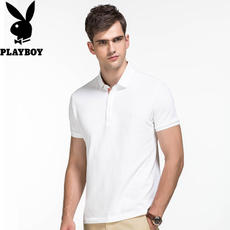 Playboy short-sleeved t-shirt male spring business casual solid color half-sleeved Slim men's lapel POLO shirt