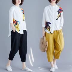 欧洲站时尚显瘦两件套大码印花雪纺白衬衫哈伦裤休闲棉麻套装女夏