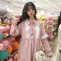 春装女装日系软妹学生宽松中长裙甜美拼色花边系带长袖连衣裙可爱