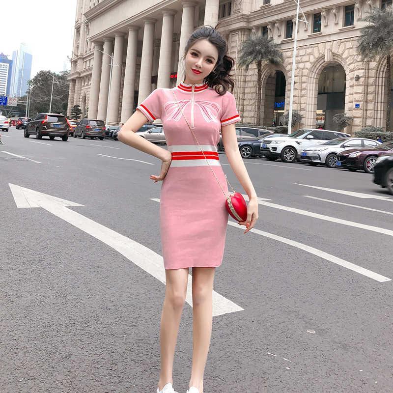 裙子气质连衣裙2019新款韩版时尚春夏季针织印花收腰显瘦拉链裙女