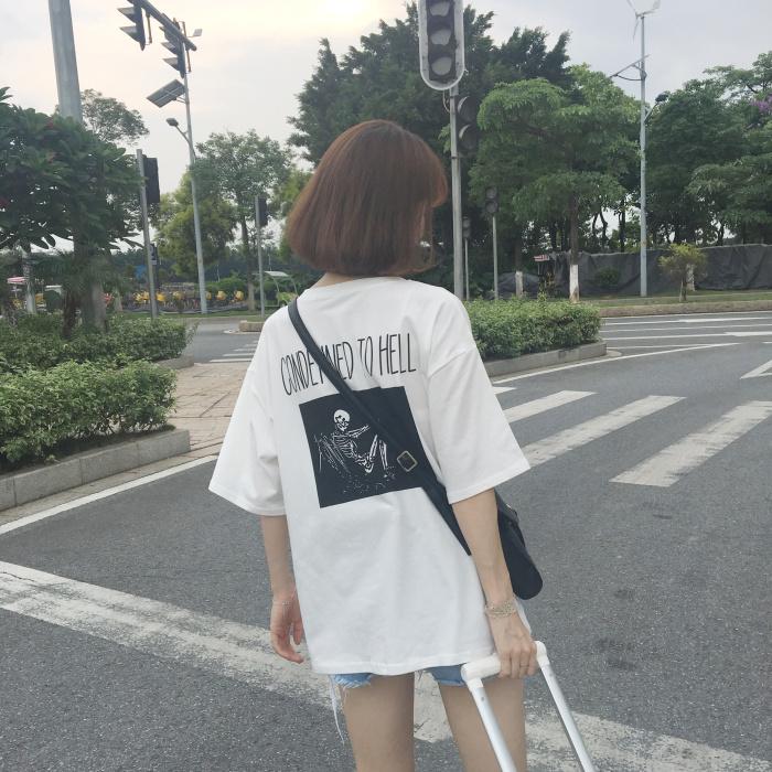 2018夏季女装新款韩版原宿风休闲百搭字母印花图案背后骷颅头T恤