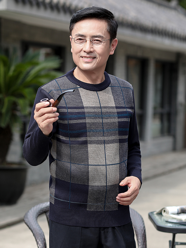 秋冬款中老年毛衣男40-50岁爸爸装圆领大码针织衫中年人加厚上衣