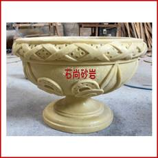 Art sandstone carving / sandstone flower embossed background wall / sandstone round sculpture / sandstone flower pot / twisted leaf pot