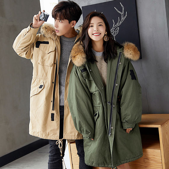 Tang lion couple cotton coat men and women long section New winter new loose hair collar Korean version of the coat Japanese Harajuku
