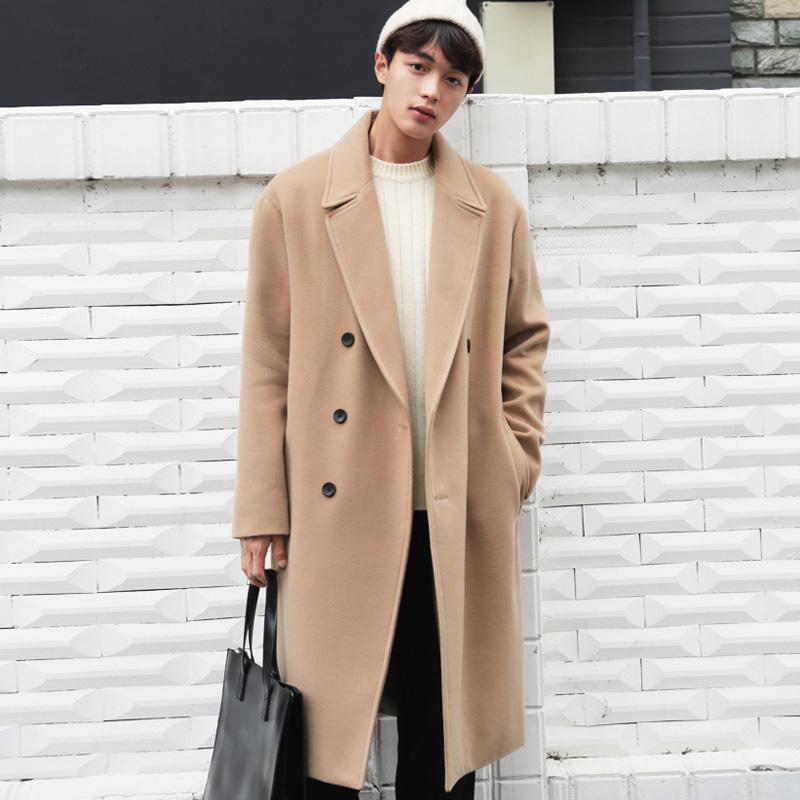 2017韩版秋冬季大衣男长款过膝英伦宽松双排扣双面羊绒落肩大衣男