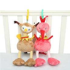 bbsky婴儿床推车挂件卡通鸵鸟火烈鸟安抚玩偶抱偶 风铃声01岁玩具