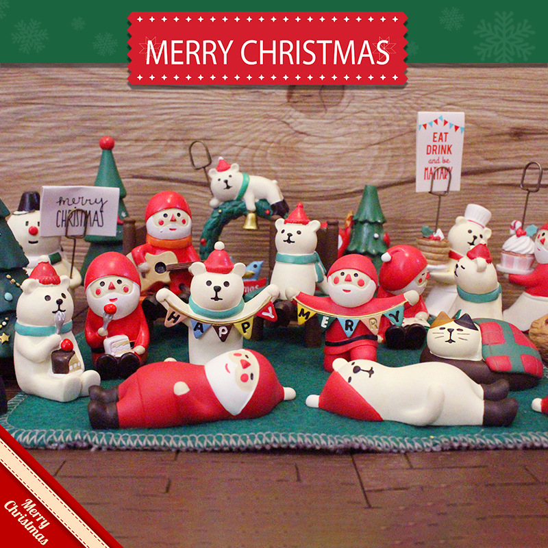 日本 decole 圣诞老人 白熊 树 雪人 圣诞节装饰礼品柜台摆设摆件
