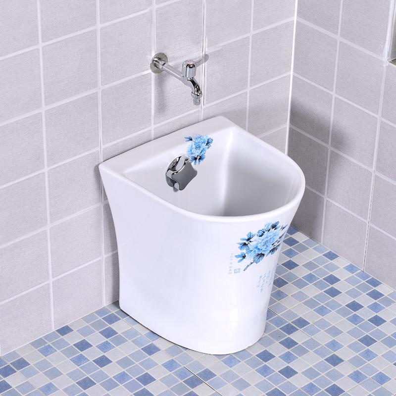 拖把池陶瓷台控自动下水拖布池卫生间陶瓷拖布盆半圆形阳台墩布池