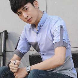 夏季男装新款短袖衬衫青年潮韩版修身7分袖寸衫中袖休闲时尚衬衣