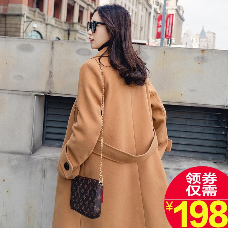 驼色赫本呢子大衣女中长款韩国2017新款学生加厚chic毛呢外套韩版