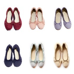 良品无印蝴蝶结芭蕾舞鞋平底舒适妈妈孕妇软底单鞋女帆布蛋卷鞋