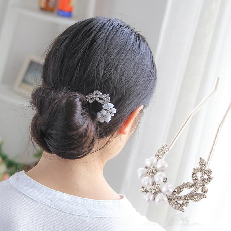 韩版饰品水钻盘发器头花发插发梳头饰插梳簪子发饰发夹发卡女发簪图片