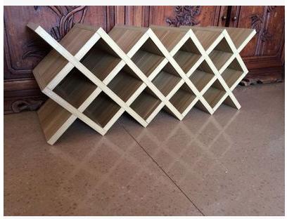 定制红酒架酒格子交叉菱形酒格子架实木订做酒柜格家用壁挂酒架