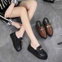 包头半拖鞋女2018夏季新款厚底松糕尖头坡跟外出时尚防滑高跟拖鞋