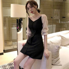 New autumn women's fashion two mesh gauze stitching high waist slim V-neck temperament fake two-piece dress skirt