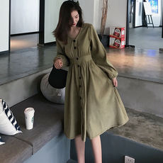 Retro fashion temperament autumn women's V-neck Lantern sleeves long single-breasted dress high waist Slim A-line skirt