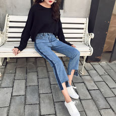 Early spring new retro wild color matching washed trousers irregular rough high waist straight jeans nine pants tide