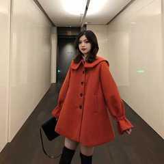 韩版气质翻领宽松新年呢子大衣女中长款2018新款喇叭袖毛呢外套冬
